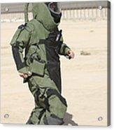 A U.s. Marine Tries Running In A Bomb Acrylic Print