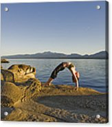 A Woman Does Yoga At Sunset Acrylic Print by Taylor S. Kennedy