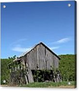 Abandoned Old Farm Building With Blue Sky Acrylic Print
