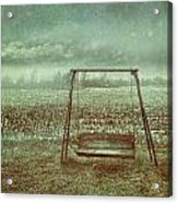 Abandoned  Swing In First Snow Storm Of Winter Acrylic Print by Sandra Cunningham