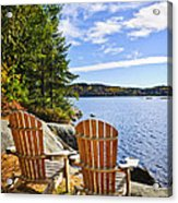 Adirondack Chairs At Lake Shore Acrylic Print