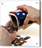 American Flag Wallet With Coins And Hands Acrylic Print by Blink Images