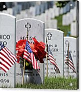 American Flags Placed In The Front Acrylic Print