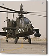 An Ah-64 Apache Helicopter Taxiing Acrylic Print