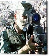 An Army Ranger Sets Up An Anpaq-1 Laser Acrylic Print
