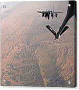 An F-15e Strike Eagle Is Refueled Acrylic Print