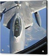 An F-22 Raptor Receives Fuel Acrylic Print