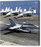 An Fa-18e Super Hornet Lands Aboard Acrylic Print