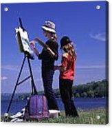 Artist Painting Cayuga Lake Acrylic Print