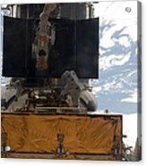 Astronauts Working On The Hubble Space Acrylic Print