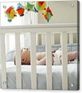 Baby Boy In His Cot Acrylic Print