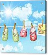 Baby Shoes And Teddy Bear On Clothline Acrylic Print by Sandra Cunningham