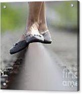 Balance On Railroad Tracks Acrylic Print