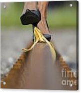 Banana Peel On The Railroad Tracks Acrylic Print