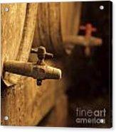 Barrels Of Wine In A Wine Cellar. France Acrylic Print by Bernard Jaubert