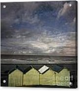 Beach Huts Under A Stormy Sky Vintage-look. Normandy. France Acrylic Print