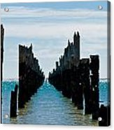 Beautiful Rotten Mooring On A Beach Where Only The Pillars Are L Acrylic Print