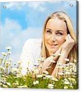 Beautiful Woman Enjoying Daisy Field And Blue Sky Acrylic Print by Anna Om
