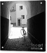 Bicycle In Tunnel Acrylic Print by Gordon Wood