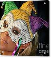 Blond Woman With Mask Acrylic Print by Henrik Lehnerer