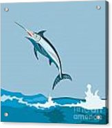 Blue Marlin Fish Jumping Retro Acrylic Print by Aloysius Patrimonio