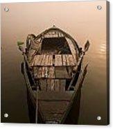 Boat In The Water, Varanasi, India Acrylic Print