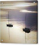 Boats In Mist Acrylic Print