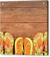 Brightly Colored Flip-flops On Wood  Acrylic Print
