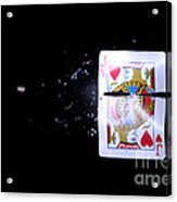 Bullet Hitting A Playing Card Acrylic Print