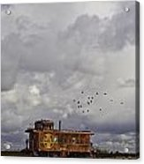 Caboose In A Cotton Field Acrylic Print