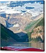 Canoes On Lake Louise Acrylic Print