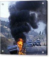 Car In Flames Acrylic Print by Kaj R. Svensson
