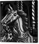Carousel Horses Mono Acrylic Print