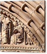 Carved Stone Biblical Mural Above Catholic Cathedral Doorway Acrylic Print