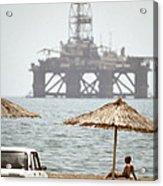 Caspian Sea Oil Rig Acrylic Print by Ria Novosti