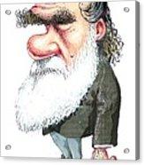 Charles Darwin, Caricature Acrylic Print by Gary Brown