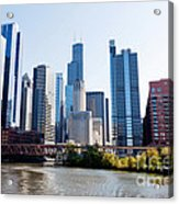 Chicago River Skyline With Sears-willis Tower Acrylic Print