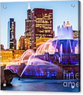 Chicago Skyline At Night With Buckingham Fountain Acrylic Print by Paul Velgos