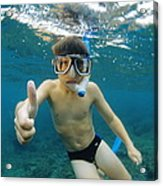Child Snorkelling Acrylic Print by Alexis Rosenfeld