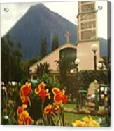 Church Nestled In The Mountains Acrylic Print