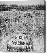 clan mackintosh memorial stone on Culloden moor battlefield site highlands scotland Acrylic Print