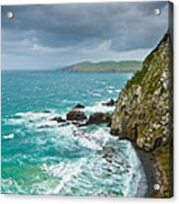 Cliffs Under Thunder Clouds And Turquoise Ocean Acrylic Print