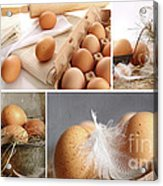 Collage Of Brown Eggs Images  Acrylic Print by Sandra Cunningham