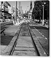 Completed Tram Rails On Princes Street Edinburgh Scotland Uk United Kingdom Acrylic Print by Joe Fox