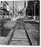 Completed Tram Rails On Princes Street Edinburgh Scotland Uk United Kingdom Acrylic Print