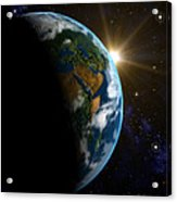 Computer Artwork Of Sunrise Over The Earth Acrylic Print