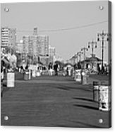 Coney Island Boardwalk In Black And White Acrylic Print