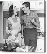 Couple Standing In Kitchen, Smiling, (b&w) Acrylic Print