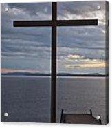 Cross By Lake Acrylic Print