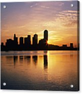Dallas Skyline At Dawn Acrylic Print by Jeremy Woodhouse
